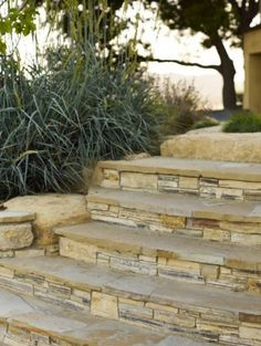 Excellent Faux Stone Steps Design: Contemporary Landscape With Stacked Stone Front Steps To Lower Backyard Front Porch Steps, Front Walkway, Front Entry, Front Yard Landscaping, Landscaping Ideas, Shade Landscaping, Backyard Ideas, Patio Steps, Outdoor Steps