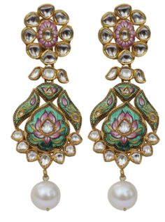 Nayaab Jewels -- jadau jewelry. The uncut diamond can be replaced by kundan-glass work. This piece seems to have kundan instead of uncut diamond. Description by Pinner Mahua Roy Chowdhury