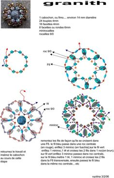 A pattern for the pendant Granith by Vyolina.       U need:  1 button or cabochon 14 mm  24 bicone beads 4 mm  16 beads 4