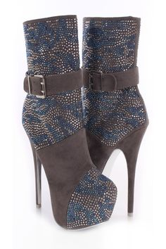 will liment any outfit for any occasion! Make sure to add these to your collection, they definitely are a must have! The features for these boots include a velvet upper with a rhinestone pattern throughout, almond shaped closed toe, strap with buckle accent, stitched detailing, full inner side zipper closure, color bottom soles, smooth lining, and cushioned footbed. Approximately 6 inch heels and 2 inch hidden platforms.
