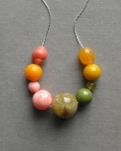 peonies necklace vintage lucite by urbanlegend on Etsy, $28.00