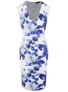AX Paris - Bílé šaty s véčkovým výstřihem a potiskem růží - 1