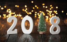 Download wallpapers Happy New Year 2018, glare, 3d letters, New Year 2018, xmas, Christmas