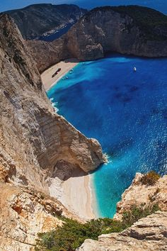 Zakynthos, Navagio. Located in Greece, this beach is only accessible by boat. Often it is called Shipwreck Beach.