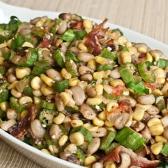 Black-eyed peas are not only for New Years Day. This is a recipe you will want to eat all year long. The okra, bacon and roasted tomatoes add a ton of flavor. Shared by Career Path Design. Pea Recipes, Side Dish Recipes, Vegetable Recipes, Vegetarian Recipes, Cooking Recipes, Healthy Recipes, Vegetarian Barbecue, Barbecue Recipes, Vegetarian Cooking