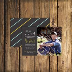 This matte black striped graduation announcement/invitation is modern and masculine! Celebrate and invite guests to that special moment of your