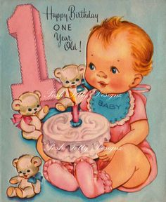 Happy Birthday One Year Old Vintage Digital by poshtottydesignz