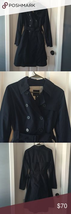 NWOT Navy Trench Coat NWOT Navy Trench Coat-love this coat!! Just have too many and need to clean out. 100% polyester. Coat lining is so cute! The Limited Jackets & Coats