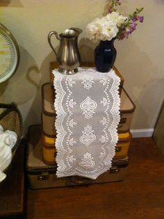 Beautiful Floral Heart Lace Table Runner  by Vintagecollectorlove, $9.00