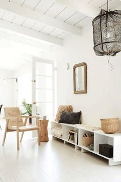 Here is a built-in bench look with accent lighting, open shelving, and a small seating area. Foyer Decorating, Decorating Your Home, Interior Decorating, Decorating Ideas, Home Board, Built In Bench, Nature Decor, Interior Design Tips, Dream Decor