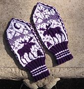 Knitting Patterns Mittens Ravelry: Moose Mittens pattern by Brian Nelson Knitted Mittens Pattern, Knit Mittens, Knitted Gloves, Knitting Patterns Free, Free Knitting, Crochet Patterns, Free Pattern, Wrist Warmers, Fair Isle Knitting