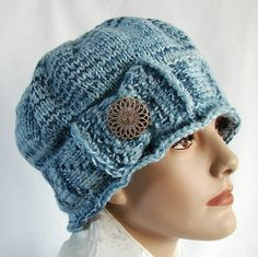 Blue Knit Cloche Hat  1920s Style Knit Hat  Hand Knit by jolay, $40.00