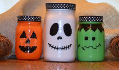 Easy Kids Craft: DIY Halloween Mason Jar project. A ghost, a pumpkin, and Frankenstein are only some of the many creative options you can make! Doubles as Decor and snack jars!