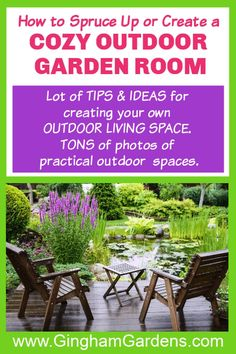 Lots of Tips and Ideas for sprucing up or creating your own Cozy Outdoor Garden Room, which can be a place to sit outdoors and enjoy your surroundings, either with friends and family, or by yourself. This place to sit can be nestled in among your flowers. It can be a bench in a shady area of your backyard. It can be a table and chairs for al fresco dining. An outdoor garden room can be on your front porch, patio or deck. Or, perhaps you're lucky enough to have a screened in porch. #ginghamgarden Flower Garden Borders, Flower Garden Plans, Flower Garden Design, Garden Ideas, Outdoor Garden Rooms, Garden Spaces, Outdoor Living, Large Patio Umbrellas, Garden Rake