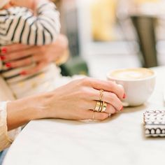 Parisienne Chic, Gold Diamond Earrings, My Cup Of Tea, Coffee Love, Classy And Fabulous, Stacking Rings, Gold Rings, Jewelry Accessories, Gems