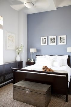 This is what I used for inspiration in our guest room at our last house.  The walls were already a powder blue, and our guest suite is really dark and glossy, and the linens are white.  The contrast was gorgeous!! ~RRR  Guest Room ...basically have everything for this!