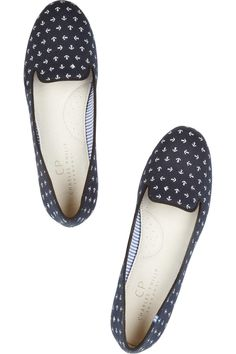 Charles Philip Shanghai Anchor-print cotton-canvas slippers