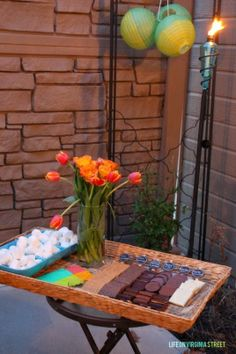 Create a gourmet s'mores bar for your next girl's night. #girlsnight #outdoor #entertaining #partyideas
