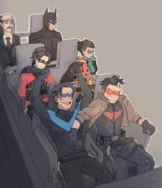 Bat Family-i kinda expected alfred to be cheering like nightwing 😂😂😂 Nightwing, Batgirl, Batman Y Superman, Batman Comic Art, Batman Robin, Batman Arkham, Red Robin, Robin Dc, Dc Comics Art