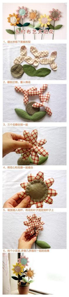 Sewn flowers--so cute on sew many things.  Want to learn to do this for sure.