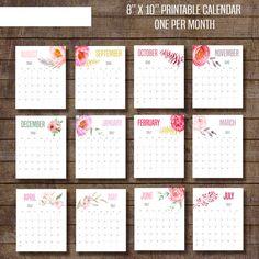Flores acuarela calendario mensual imprimible 2016-2017 - 8 x 10 calendario de…