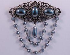Pewter Black Pearl Tudor Brooch Renaissance Medieval Jewelry Pin Borgias Jane Seymour - Edit Listing - Etsy
