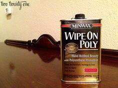 What I'm gonna need to restore some uniformity to the finish of my old, yucky bedroom furniture: Minwax wipe-on poly