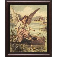 Guardian Angel with Boy in Boat w/ Cherry Frame (8x10) | The Catholic Company