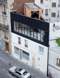 Saganaki House Employs Independent Construction Atop Existing Building In Paris in Architecture & Interior design Parasitic Architecture, Residential Architecture, Contemporary Architecture, Interior Architecture, Ancient Architecture, Sustainable Architecture, Landscape Architecture, Interior Exterior, Exterior Design