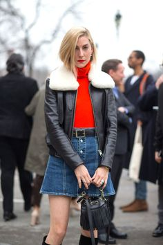 The button-front denim mini is quite possibly the must-have skirt right now. BAZAAR's Joanna Hillman styles it to perfection with a knit turtleneck and classic leather belt. Wear with a cropped or sleeveless style now, then switch to a heavier-weight turtleneck and add a leather jacket and knee-high boots once the weather starts to cool.