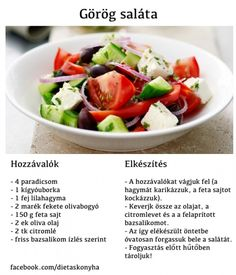 Görög saláta Veggie Recipes, Vegetarian Recipes, Healthy Recipes, Clean Eating, Healthy Eating, Thing 1, Foods To Eat, Food To Make, Healthy Lifestyle