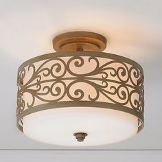 Champagne Scroll Shade Ceiling Light