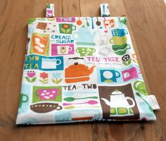 Hanging Kitchen Wetbag in Tea Time print by InspiredStitchery, $19.00
