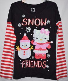 Hello Kitty Shirt Youth Girl's XL #Christmas #Snow Friends Long Sleeve #Winter Top #HelloKitty #Holiday