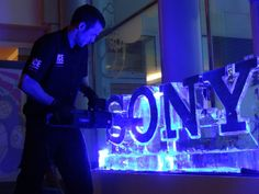 Corporate ice sculptures for your companies themed event, ideal for promotions, product launches and of course your Christmas party. #livecarcing #prideas #sony #icecarving chainsawcarving