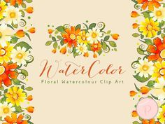 WCA62 Whimsical Spring Watercolor Flower, Spring Floral Wreath 3