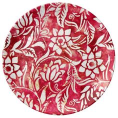 Red and White Tapestry Flower Pattern Print Porcelain Plates