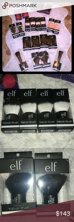 Make your bundle of Vegan ELF AND ETOS TOOLS Make your own bundle of your favorite brushes..ELF and ETOS are both vegan friendly..I tried to fit everything in..some I closed up on for you to see better..I couldn't get good pics of the elf retractable Kabuki Brush..but I have for..minimum bundle must be $13..but you can bundle with my elf makeup..or anything else in my closet..I will be posting lots of NWT cosmetic bags..just lmk what you want me to make in a listing 4 you..any questions…