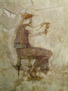 Woman Pouring Perfume into Flask.  1st-century from Villa Farnesina
