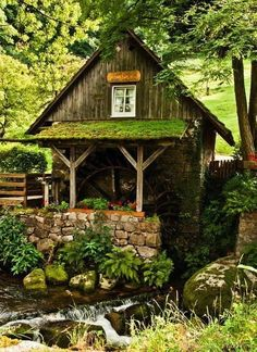 Moss-covered potting shed or studio with a view of a charming country creek.  Wow!