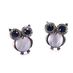 New Design Owl Earrings Zinc Alloy Opal Black And Gold Plated Stud Earrings For Women Fashion Brand Earring Jewelry