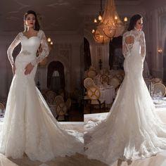 White Ivory Mermaid Long Sleeve V Neck Backless Lace Wedding Dresses Custom 2015