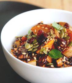 Superfood salad with Goji Berries, black rice, butternut squash, sweet potato, cranberries, sunflower and pumpkin seeds.