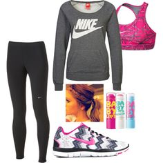 A fashion look,  featuring NIKE sweatshirts, NIKE activewear pants and NIKE sports bras. Browse and shop related looks.