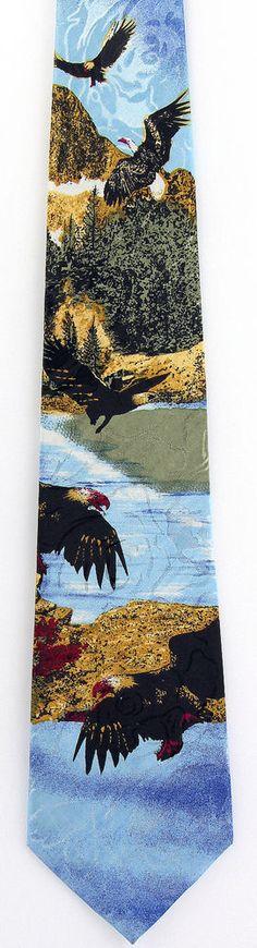 New Eagles Landing Mens Necktie Bald Eagle Patriotic Bird Nature Animal Neck Tie #EmpireHighFashion #NeckTie