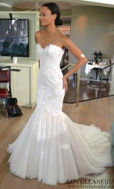 Pin by charlotte rose on wedding dresses mermaid pinterest ines di santo airlia 3875 size 12 used wedding dresses trumpet style junglespirit Images