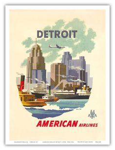 Detroit Michigan Skyline Vintage Airline Travel Art Poster Print