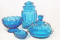LE Smith Blue Moon and Star Glass by SparkleUpcycledGoods on Etsy, $95.00