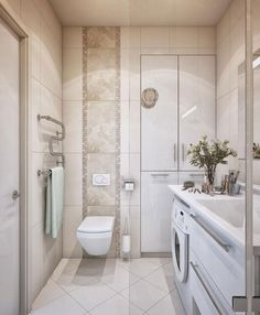 Top Luxurious Small Bathroom Designs to Inspire You : Ceramic Walls Luxurious Small Bathroom Design with Washing Machine and White Installed...
