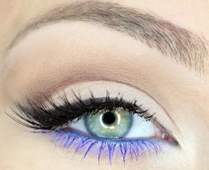 "Mix Mary Kay mineral eye colors ""Peacock Blue"" and ""Iris"" for lower lashes; ""Sweet Cream"" and ""Almond"" for eyelid and crease. Add some black liquid eyeliner and mascara"